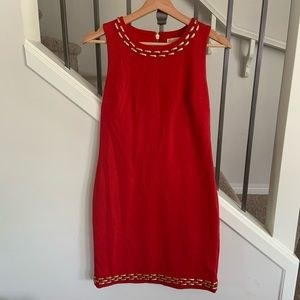 Michael Kors Red and Gold Studded Dress